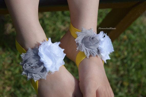white / grey flower Baby Barefoot Sandals ,Chiffon Flowers  , Toddler Sandals ,Newborn Sandals ,Baby Flower Sandals