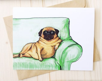 Fat Pug Greeting Card - Funny Pug Card for Friends, Best Friend Card, Anniversary Card, I Love You Dog Card