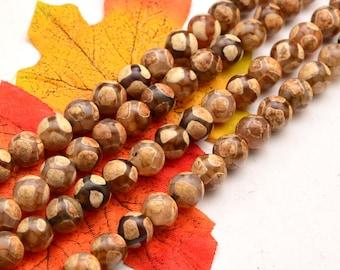 15 INCH Dzi beads, Tibetan beads, brown agate beads, retro football bead  tibetan agate smooth round-10mm