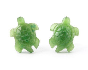 Canadian Nephrite Jade Earrings, Turtle