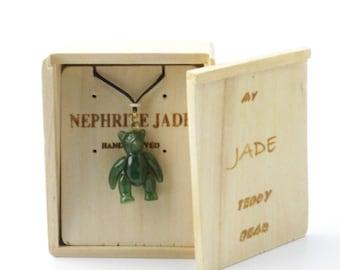 Canadian Nephrite Jade Pendant, Teddy Bear