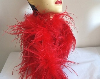 ANTIQUE 1920's  All Feather Flapper RED  Ostrich Feather BOA  Long 85 inch