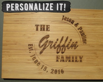 Large personalized cutting board,   Wedding date engraved bamboo chopping, Family last name, Established date display, bride and groom gift