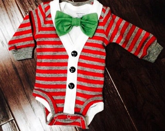 Preppy Baby Boy Christmas Cardigan, Onesie + Bow Tie  Set