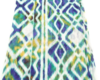 Tribal Blue Green Yellow White Open Weave Knit Fabric by the Yard