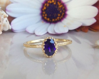 20% off-SALE!! February Birthstone Jewelry - Amethyst Ring - Gold Ring - Stacking ring - Thin Stackable Ring - Gemstone Ring - Purple Ring