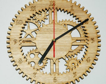 Rustic Gear & Cogs Lasercut Wall Clock