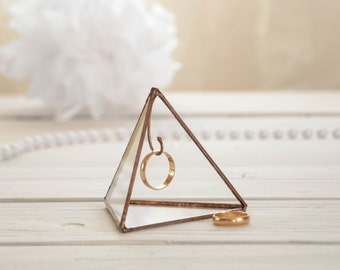 Ring holder pyramid  - stained glass holder- display box- wedding ring box