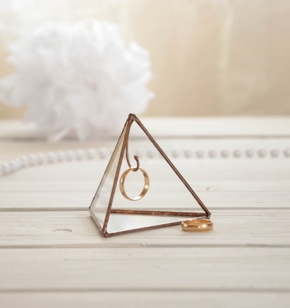 Ring Holder Pyramid Stained Glass Holder Display Box