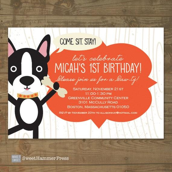 Boston Terrier Dog Themed Childs Birthday Party Invitation for – Dog Themed Birthday Party Invitations
