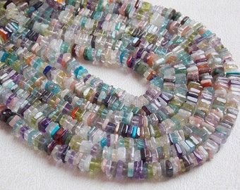 "MULTI GEMSTONE 1.Strand 16"" Heishi Shape Beads 4 mm approx 100% Natural Awesome AAA Quality Discounted Price New Arrival ( bsj )"