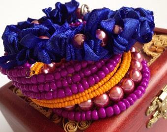 Set Bracelet/ Purple blue orange bracelet/ Memory Wire Bracelet/ Beads Ribbon Bracelet/ Wrap memory wire bracelet/ Wire Bracelet