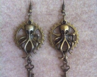 Bronze Gear Octopus Key Dangle Steampunk Earrings