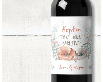"""Bridesmaid/Maid of Honour proposal personalised wine label gift """"Will you be my Bridesmaid?"""""""