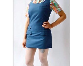Blue  RELCO jumper dress Tonic type. Skingirl mod Skinhead
