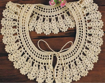 Crochet Collar Pattern Vintage 70s Crochet Neckline Collar Pattern Crochet Lacy Collar Pattern