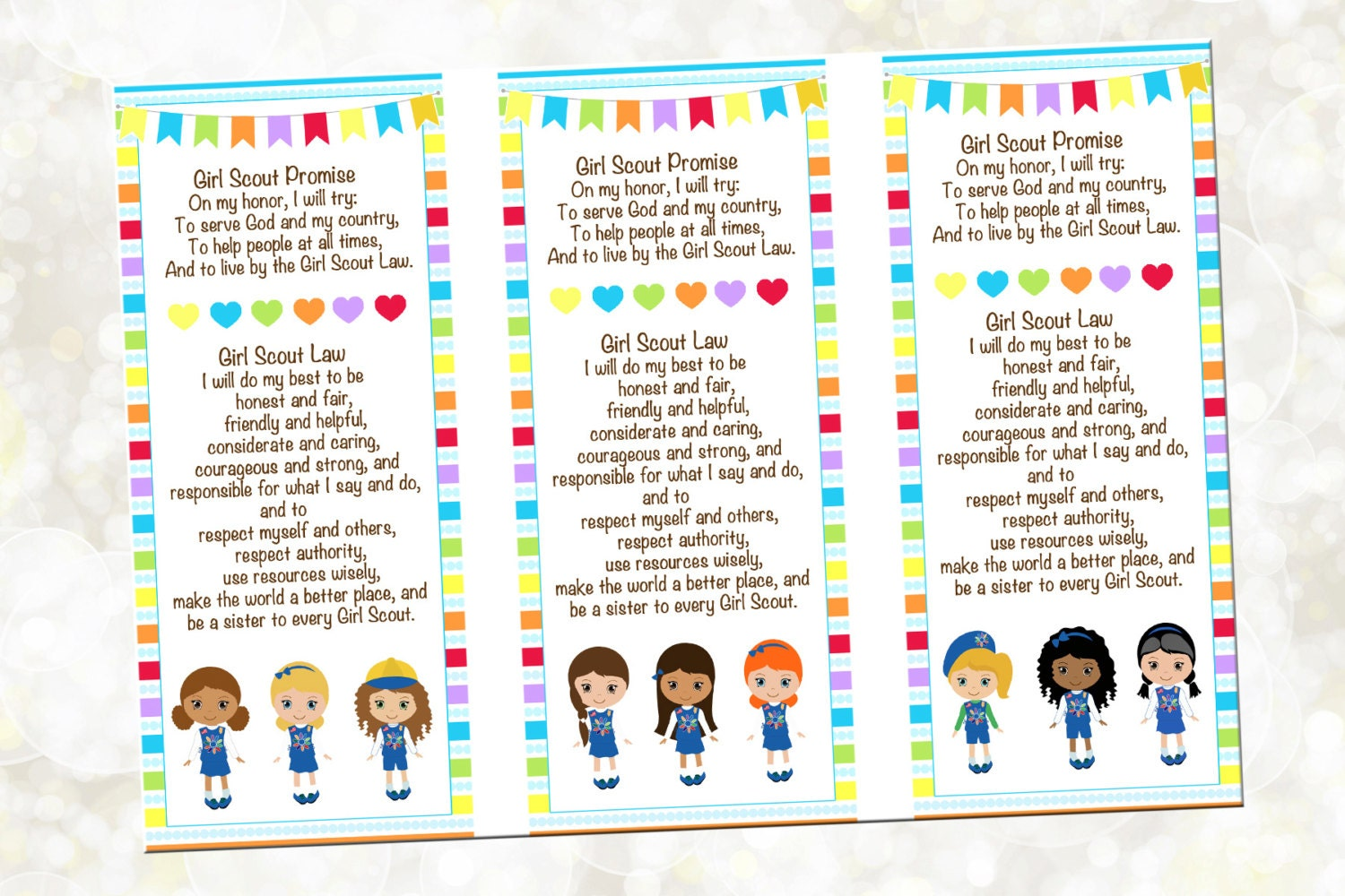 Scout Promise Printable Scout Bookmark by OTPartyPrintables: https://etsy.com/listing/250585392/girl-scout-promise-scout-bookmark
