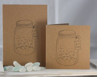 Hand stamped greeting card - a little jar of kisses