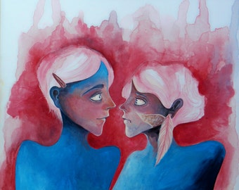 SOUL MATES Art Print Poster from Original Painting