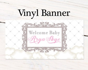 Thank Heaven Baby Banner ~ Personalized Party Banners - Welcome Baby Banner, Baby Shower Personalized Banner,