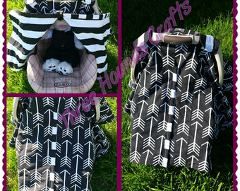 Black and White Car Seat Canopy Tent