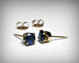 Sapphire Earrings Studs, 14K Created Sapphire Stud Earrings, 14K Yellow 14K White Gold, Sapphire Jewelry, September Birthstone Earring Studs
