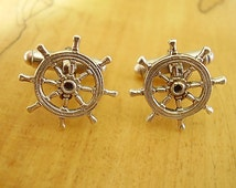 Sterling Silver Nautical Ships Wheel Cufflinks In A Presentation Box