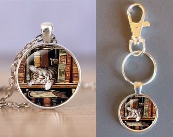 Sleeping Library Cat - One Inch Round Glass Pendant - Choice of Necklace or Keychain