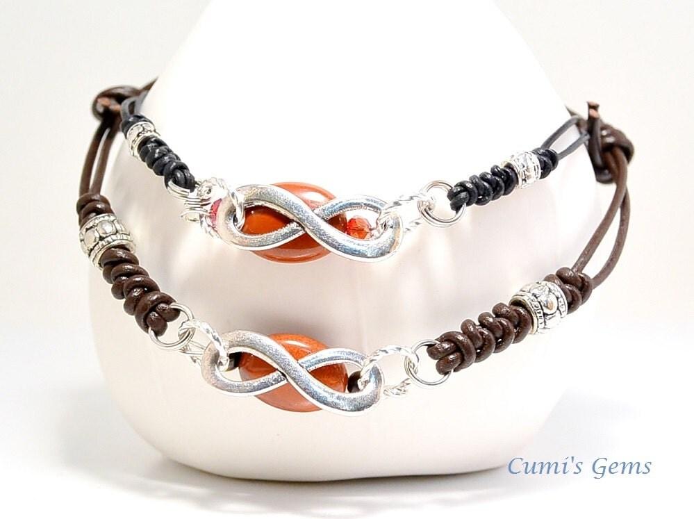 infinity bracelet couples bracelet jasper leather by