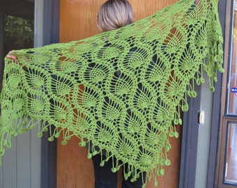 Olive Green Crocheted Shawl, Wrap