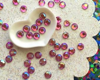 ss20 Hot Pink AB finish Acrylic 5mm Rhinestones - Non Hot Fix Flatback Rhinestones - Rhinestone Embellishments