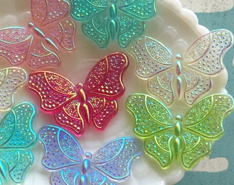 44mm Large AB Iridescent Butterfly Resin Cabochons - 6 pcs - Beautiful AB Butterfly Embellishments