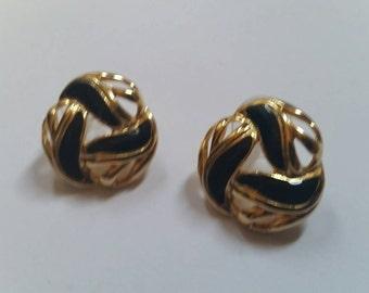 Vintage Black Enamel Earrings Gold  Costume Jewelry