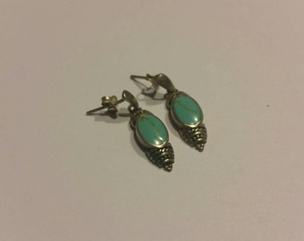 Sterling Silver Earings Turquoise Blue Stone Dangle 925 Jewelry