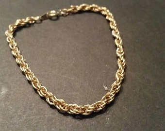 Vintage Gold Tone Woven Rope Bracelet Costume Jewelry