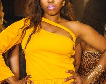 Golden One Sleeve Dress