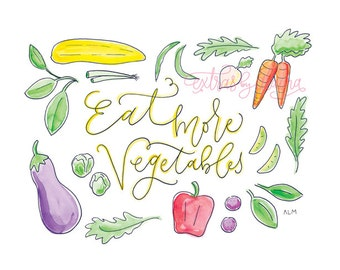 "Vegetable Art Print, 8x10 ""Eat More Vegetables"" Illustration"