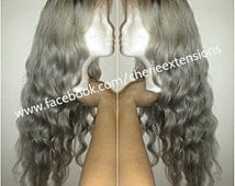 """Balayage Dip Dye 8A Remy Human Virgin Ombre Dip Dye U Part or Lace Front Wig Platinum Blonde Colour 60  Reverse Silver Grey 24"""" Dark Root"""