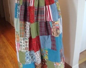 Vintage Patchwork Maxi Skirt Size 4