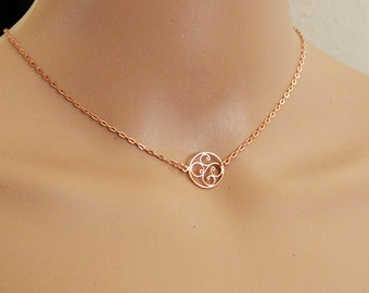 Rose Gold Choker Necklace, 13 Inch, Rose Gold Filigree Necklace, Rose Gold Filigree Choker