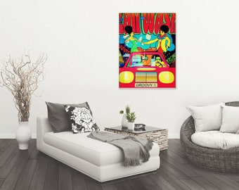 Retro 70's boogie disco Pop Art downloadable Poster print, UK seller, Cross Processed Tones, Instant printable. UK Seller