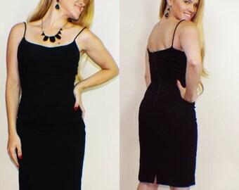 Vintage 50s Black Dress Wiggle Pinup Dress Rockabilly Cocktail Dress Spaghetti Straps Sexy Madmen Bodycon Dress XS/S