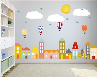 City Wall Decals, Nursery Wall Decal, Wall Decals Nursery, Baby Wall Decal, Kids  Wall Decals, Wall Decal Nursery, REMOVABLE and REUSABLE