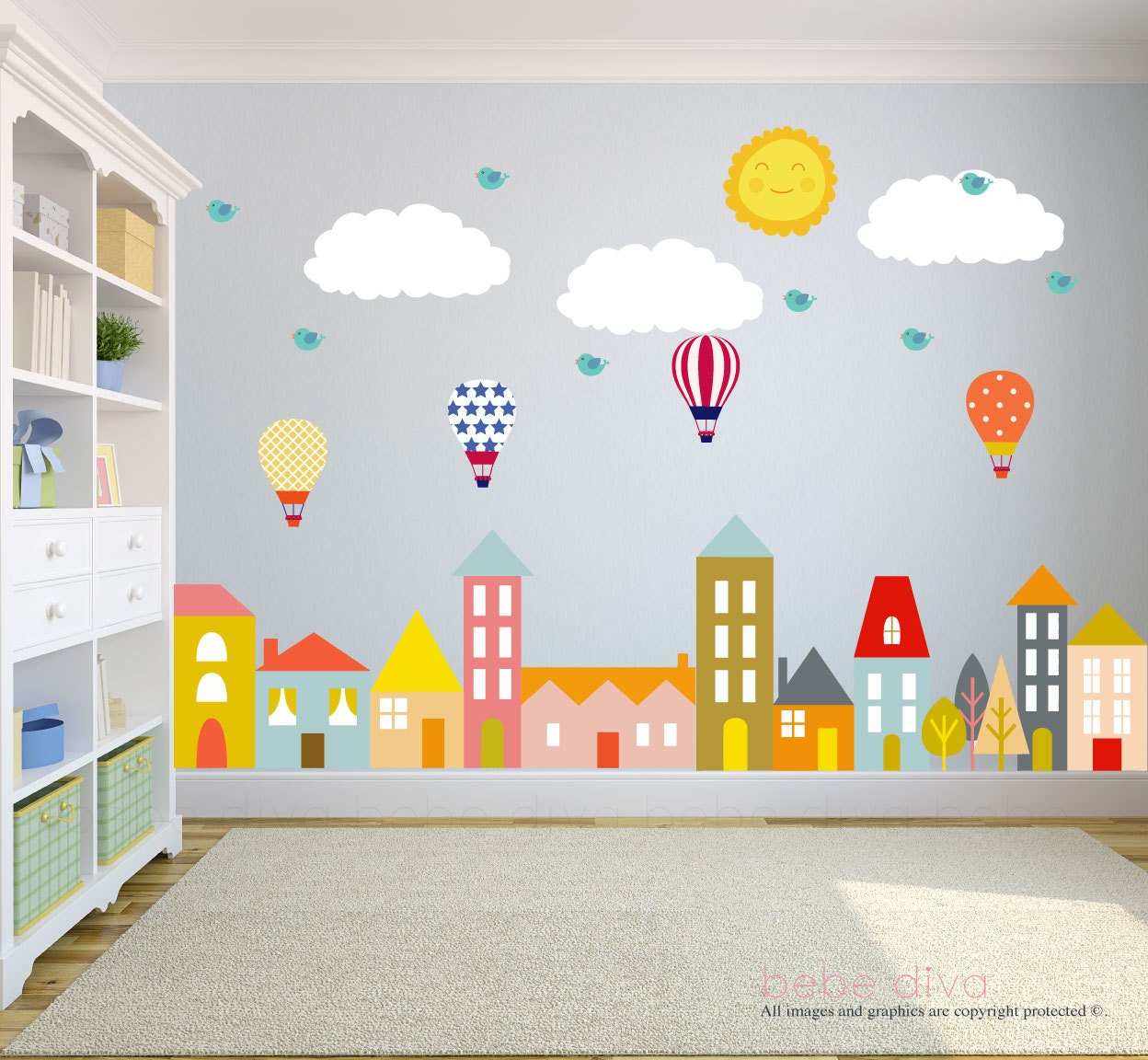 City wall decals nursery wall decal wall decals nursery for Wall decals kids room