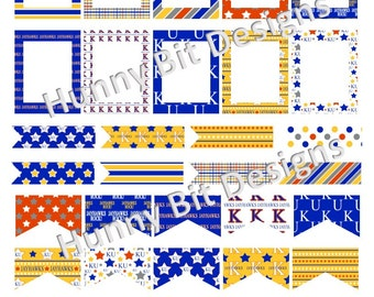 Erin Condren University of Kansas Jayhawks Football Flags Stickers Labels Cards DIY PRINTABLE Instant Download Blue Red Yellow