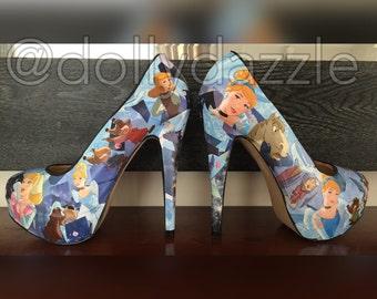 Cinderella ~ cinderella heels Frozen Anna Elsa Heels Women's Decoupage Character High Heel Shoes Disney Princess