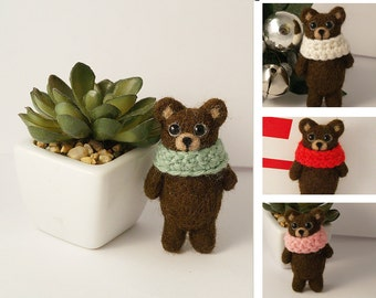Miniature Teddy Bear wool brosche pin Brown bear brooch teddy broach Teddy lover gift Everyday jewerly holiday gifts