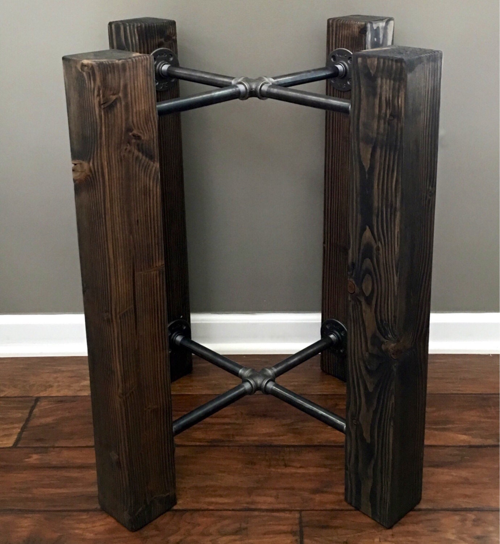 Table Base Wood Beam Amp Iron Pipe Round Square Dining Custom