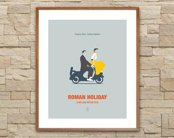ROMAN HOLIDAY: Minimalist Movie Posters. Roman Holiday Poster. Audrey Hepburn. Vespa Poster. Vespa Art. Alternative Movie Poster.