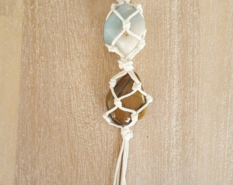 Tiger eye and blue agate stone cage necklace